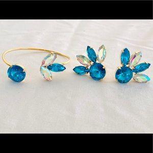 Earring and bracelet turquoise set